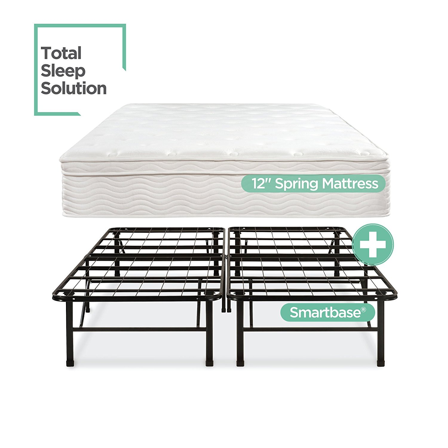 Zinus Night Therapy Spring 12 Inch Euro Box Top Mattress and SmartBase Complete Set